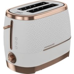Beko TAM8202W Toaster 2 Slot Cosmopolis in White with Rose Gold Accents