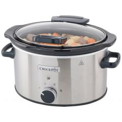 Crockpot CSC044 Slow Cooker 3.5Litre Hinged Lid Stainless Steel