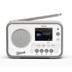 Roberts PLAY20W DAB+ FM Portable Radio in White with Rubber Bumper